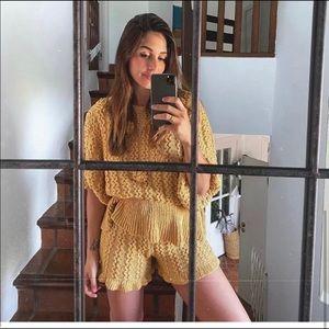 Zara textured shorts only mustard NWT small